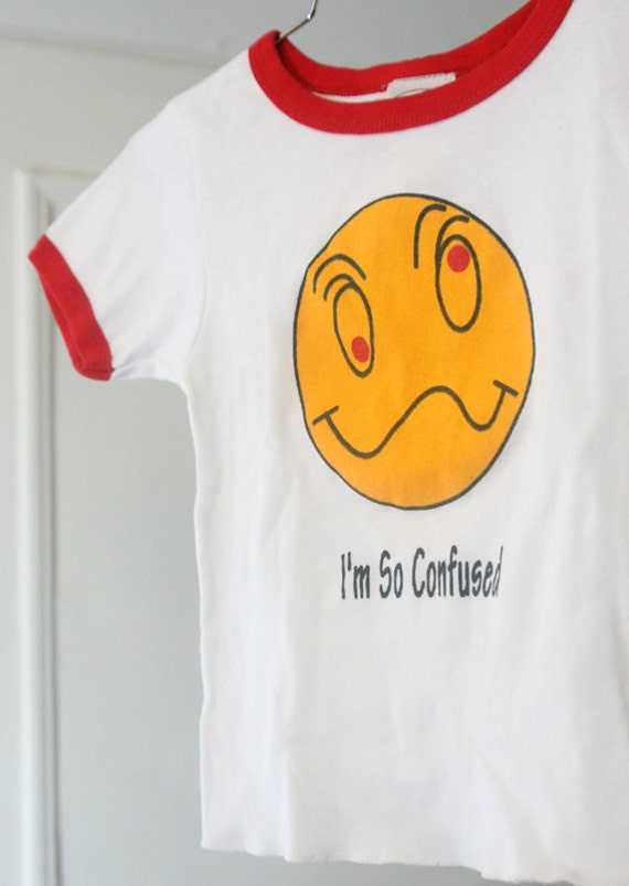 "s a l e / / / 90s White and Red ""I'm So Confused"" Ringer Baby Tee / / / s a l e"