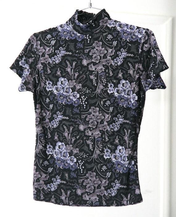 s a l e / / / Stretchy Floral Burnout Black and Lavender Tight 90s Shirt / / / s a l e
