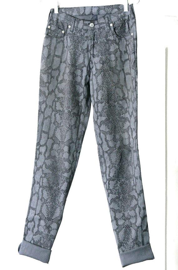 s a l e / / / Grey Faux Snakeskin Stretchy Jeans-Style Pants / / / s a l e
