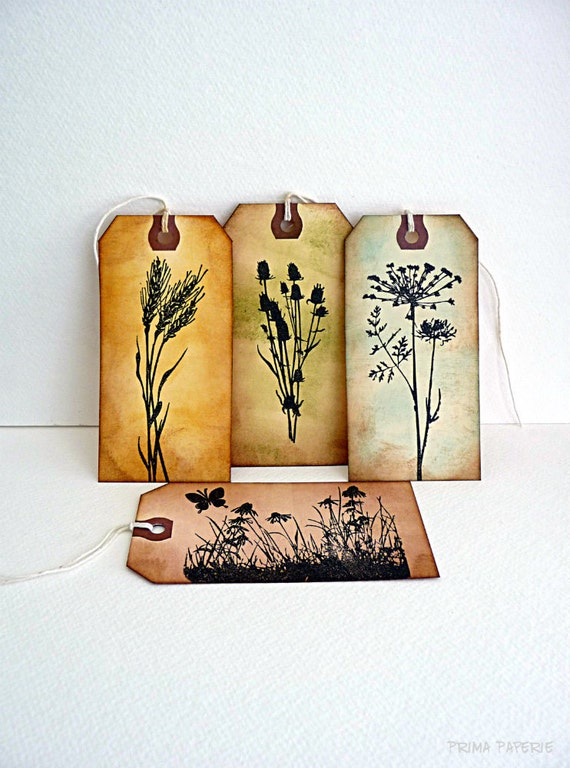 Rustic // Spring // Nature // Silhouette // Wedding // Pastels // Vintage Inspired // Luggage Tags // Set of 4