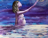 Pregnancy art Print, Fertility Art, Matted Print, Pregnant Woman, Water, Stars, Midwife Gift, Doula Gift, Blessingway Gift, Starry Night