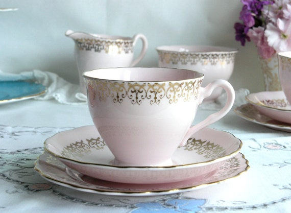 Vintage pink and gold tea cup saucer, and plate:  Colclough beauty from the 1950s, pretty tea set just perfect for high tea in the garden