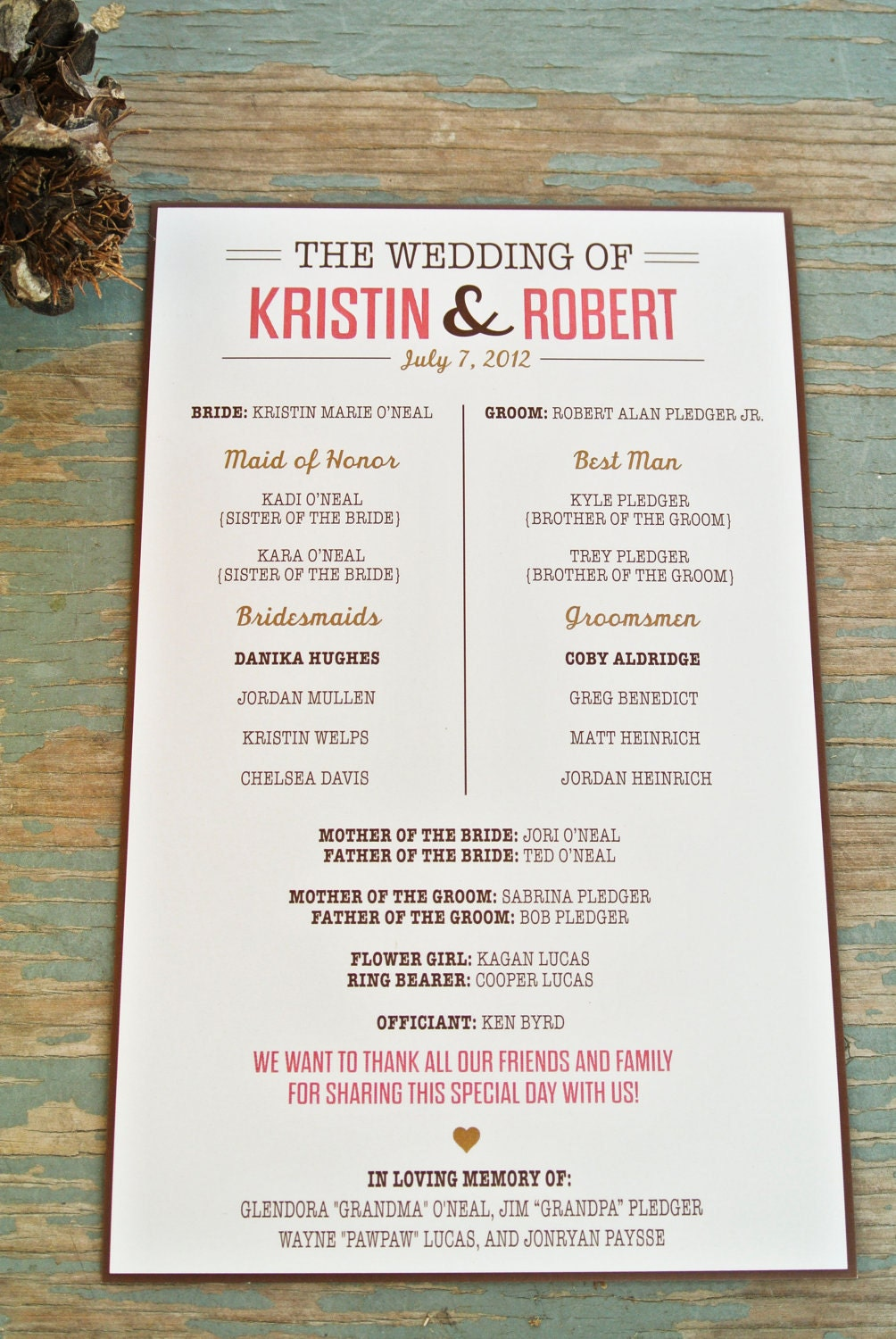 Rustic Wedding Program