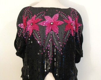 Vintage Sequin Batwing Top - Embellished Top - Black Sequins and Magenta Floral Motif