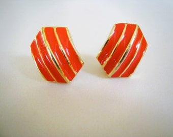 Vintage Earrings -  Red and Gold Enamel - Clip On