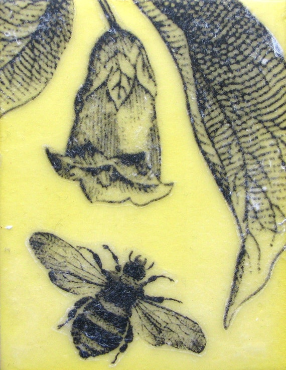 Encaustic Painting- Yellow Bee and Flower