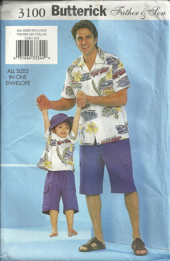 Shirt, Shorts, Hat  Pattern Father and Son Butterick 3100 Mens S M L XL Boys XS S M L 2 3 4 5 6 7 8