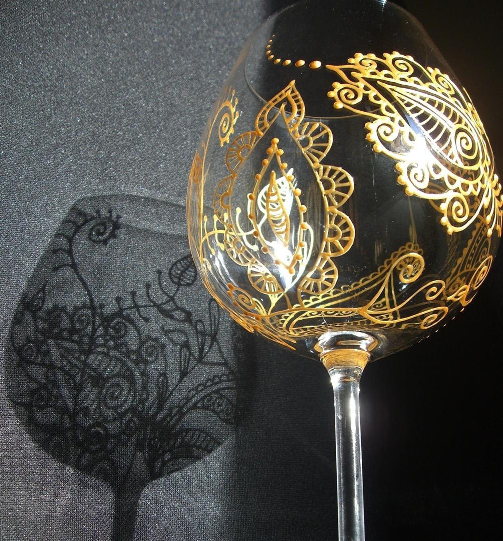 Mehndi Arm Glass : Items similar to custom wine glass art mehndi designs for