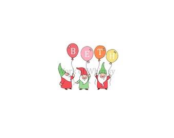 Garden Gnomes with 4 Balloons Personalized Name Print childs room decor babys room decor Christmas Birthday Gift home decor seasonal decor