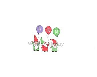 Garden Gnomes with 3 Balloons Personalized Name Print childs room decor babys room decor Christmas Birthday Gift home decor seasonal decor