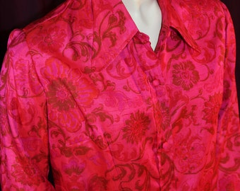 Vintage Silk Blouse / Fuchsia / Red / Floral Print / Silk of Siam / 1970s