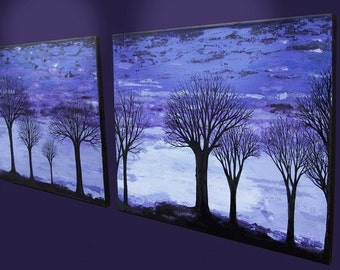 "Original artwork - ""Dusk"", abstract tree art, modern palette knife art"