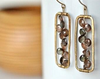 Andalusite Gemstone Earrings - Gold Rectangular Earrings - Gold Vermeil Earrings - Gold filled Earrings - Geometric Earrings - Wood Brown