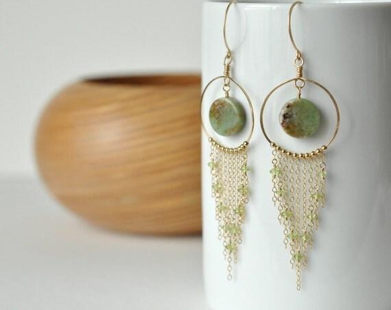 Green and Gold Filled Earrings- Long Chain Earrings- Chrysoprase Earrings- Earthy Earrings- Statement Earrings- Long Dangle Earrings- Green