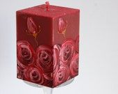 Sale! Ready to Ship - Marsala Candle Cube - Handpainted Claret Roses - Handmade Oxblood Candle - Red Painted Roses - Bordeuxrot Home Decor