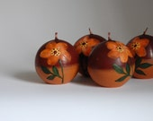 Handpainted Autumn Candle Brown Orange Dark Orange Handmade Candle Ball Fall Harvest Thanksgiving Decor