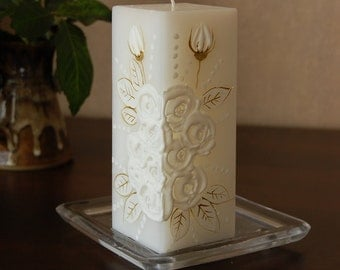 Handpainted Candle Rectangle With White Roses - Wedding Decor, Christening, Baptism Decoration - White Roses Decor - Unity Candle