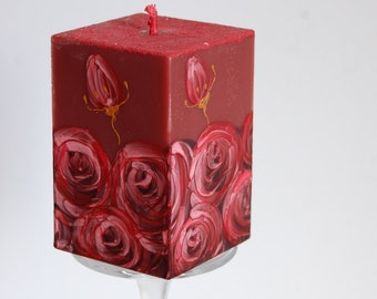 Sale! Ready to Ship - Bordo Candle Cube - Handpainted Claret Roses - Handmade Dark Red Candle - Red Painted Roses - Bordeuxrot Home Decor