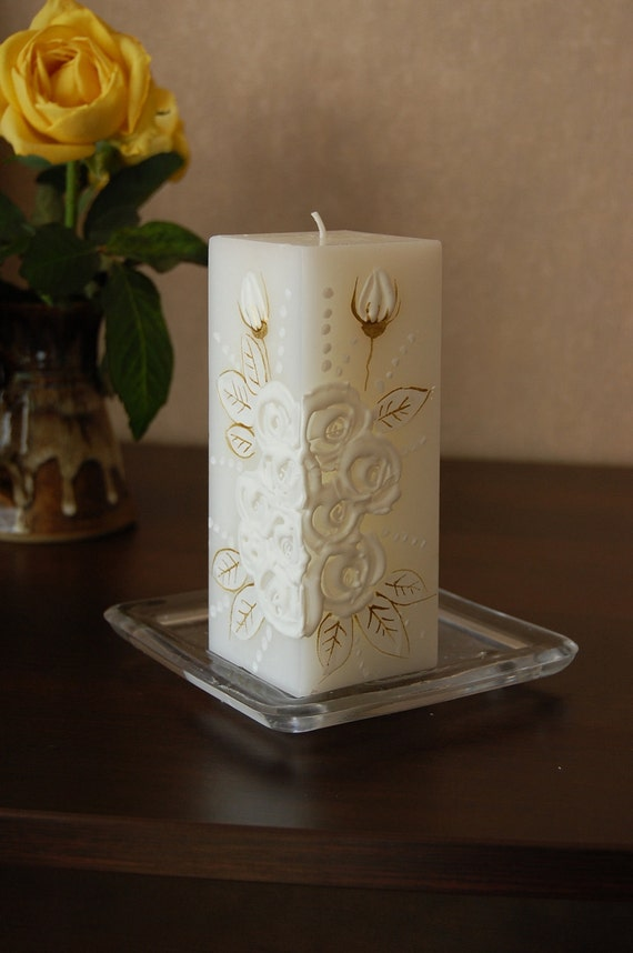 Handpainted Candle Rectangle With White Roses - Wedding Decor, Christening, Baptism Decoration - White Roses Decor - Unity Candle