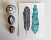Watercolor Feather Painting - Archival Print - Featured in West Elm - Tree Ring Feathers
