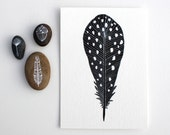 Watercolor Feather Painting - Watercolor Art - Black Friday Cyber Monday - Archival Print - 5x7 Spotted Feather