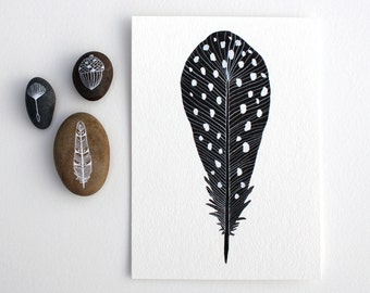 Watercolor Feather Painting - Watercolor Art - Archival Print - Spotted Feather