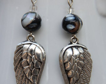 Silver Angel Wing Dangle Earrings - FREE SHIPPING