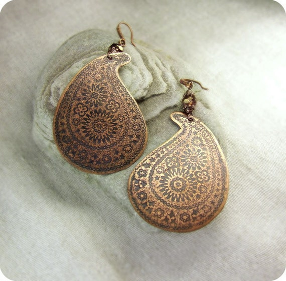 Copper earrings paisley, Indian notes.