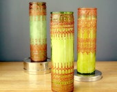 Set of Three Moroccan Inspired, Henna Designed, Tall Aromatherapy Container Candles with Citrine glass and Copper Accents