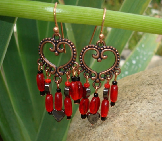 Earrings,Hearts in Copper, Fringe Earrings ,Deep Red Re Purposed Glass,Red Glass with Little Black Hearts drop from detailed Cooper Hearts