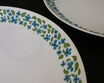 Pair of Vintage Mikasa Platters / Mod Green and Turquoise Blue Floral
