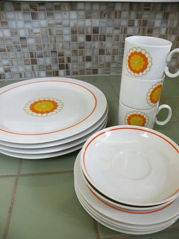 Lovely Georges Briard Vintage Plates Cups and Saucers Florette Pattern Orange Yellow and White