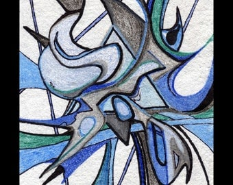 Original abstract drawing in blues and greys