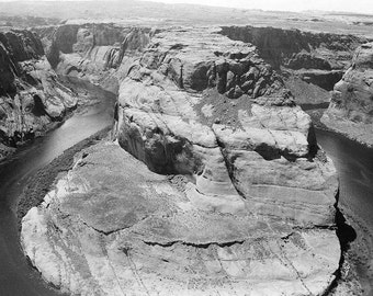 Black and white photograph of Horseshoe Bend in  Page, Arizona