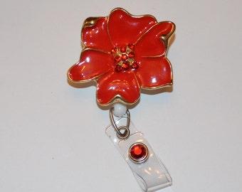 Red Flower Pendant Badge Cover