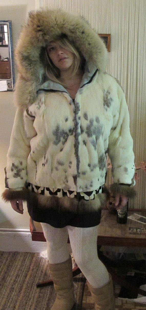 RESERvED 4 ByRON...1960s ALASkAN ESKiMO FUR COAT iN RABBiT, wOLF, SEAL, aNd WOLVERiNE.
