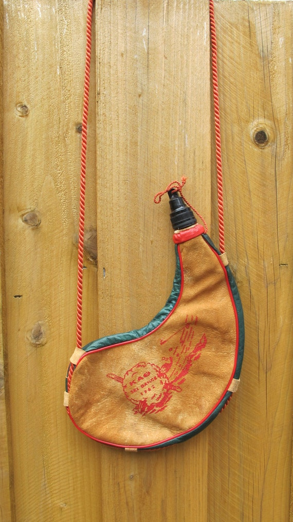 1960s Leather Water Pouch Sling Native Inspired Cowhide