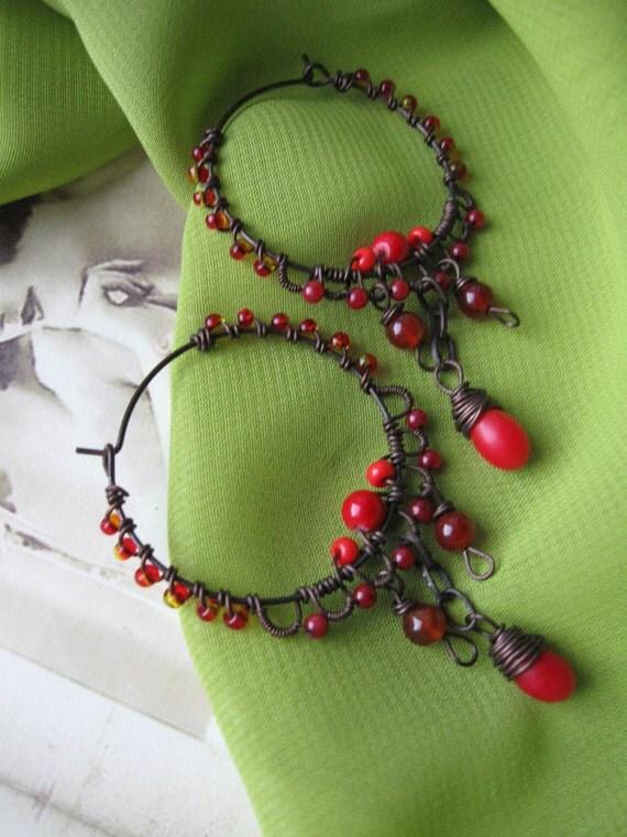 Ornate  wire wrapped hoop earrings,  red hoop earrings ,copper wire earrings,beaded hoop earring, wire hoop earrings, copper earrings