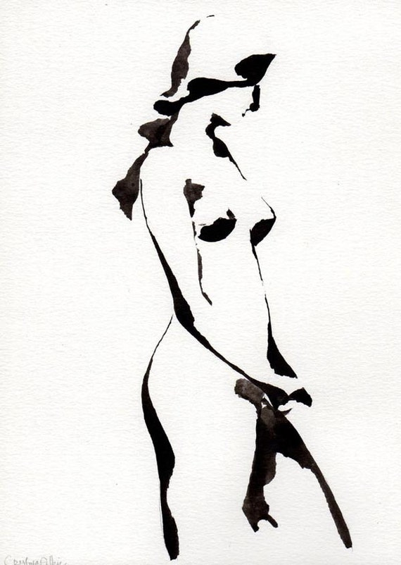 NUDE - Female figurative - Drawings in Ink, pencil and acrylic.