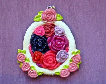Pile of Roses (Polymer Clay Pendant)