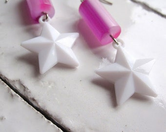 Star Earrings Vintage Lucite Fantasy Carnival Circus Jewelry