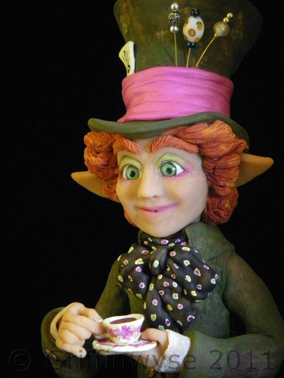 Mad Hatter, Alice in Wonderland, Art Figurine - Mad Hatter Taking Tea- HOLIDAY SALE