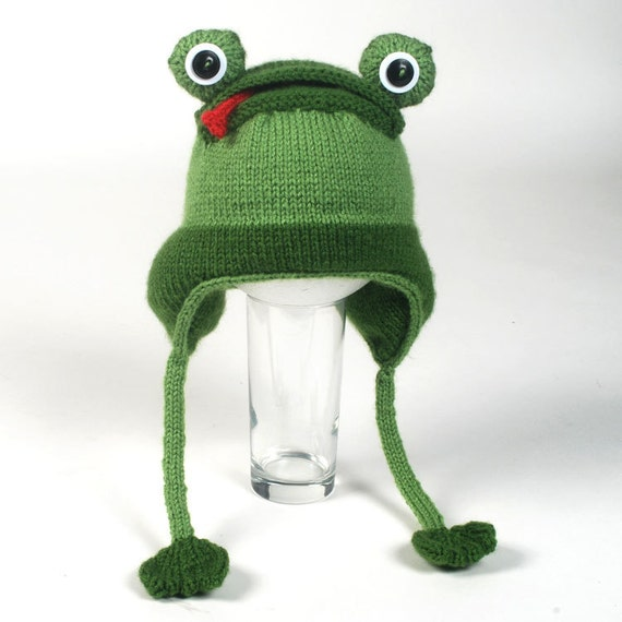 Knitting Pattern For Frog Hat : Knitted Frog Hat Pattern by ROFLhatfactory on Etsy
