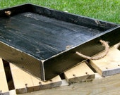 Reclaimed pallet wood  furniture, serving tray,  painted black, distressed, Handmade, rustic home décor