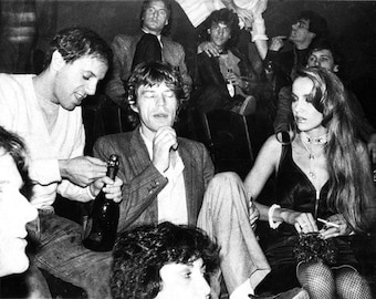 Original Fine Art Photograph by Allen Brand: Mick Jagger and Jerry Hall being served by Steve Rubel at Studio 54