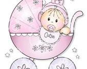 Digital (Digi) Baby Girl in Pram Stamp