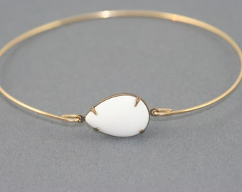 Milk glass gold Bangle bracelet