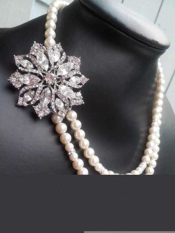 Markiza Swarovski crstal and pearl  double strand bridal necklace