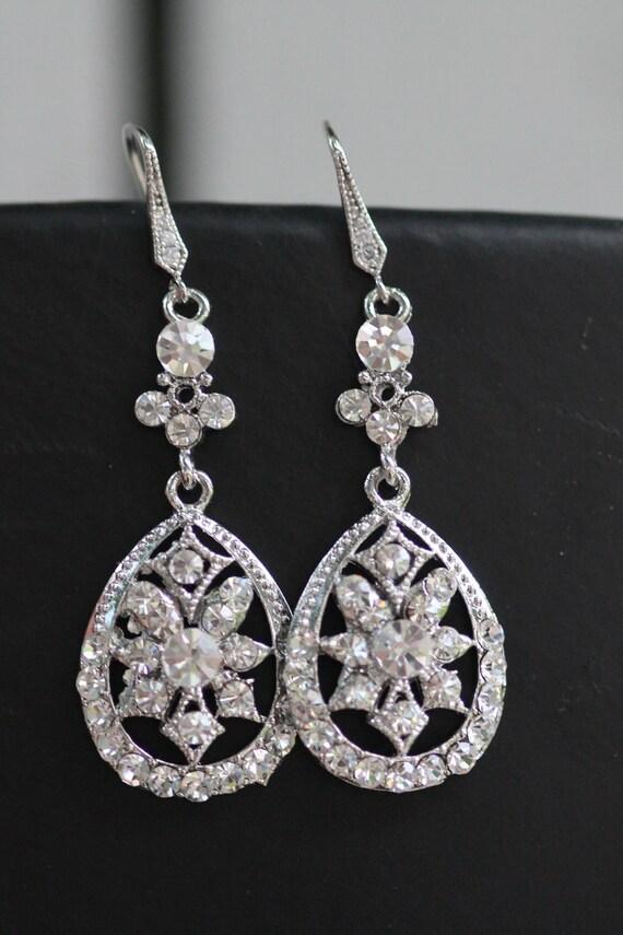 Bridal Earring - ,Wedding earrings, LARGE White Clear Peardrop , Tear  Drop silver hook Earring (Alis)