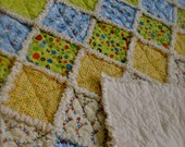 """SHOP SALE--Baby Boy or Toddler Rag Crib Quilt, Riley Blake """"Scoot"""" fabric - Helicopters, trains, fire trucks, scooters, and airplanes"""